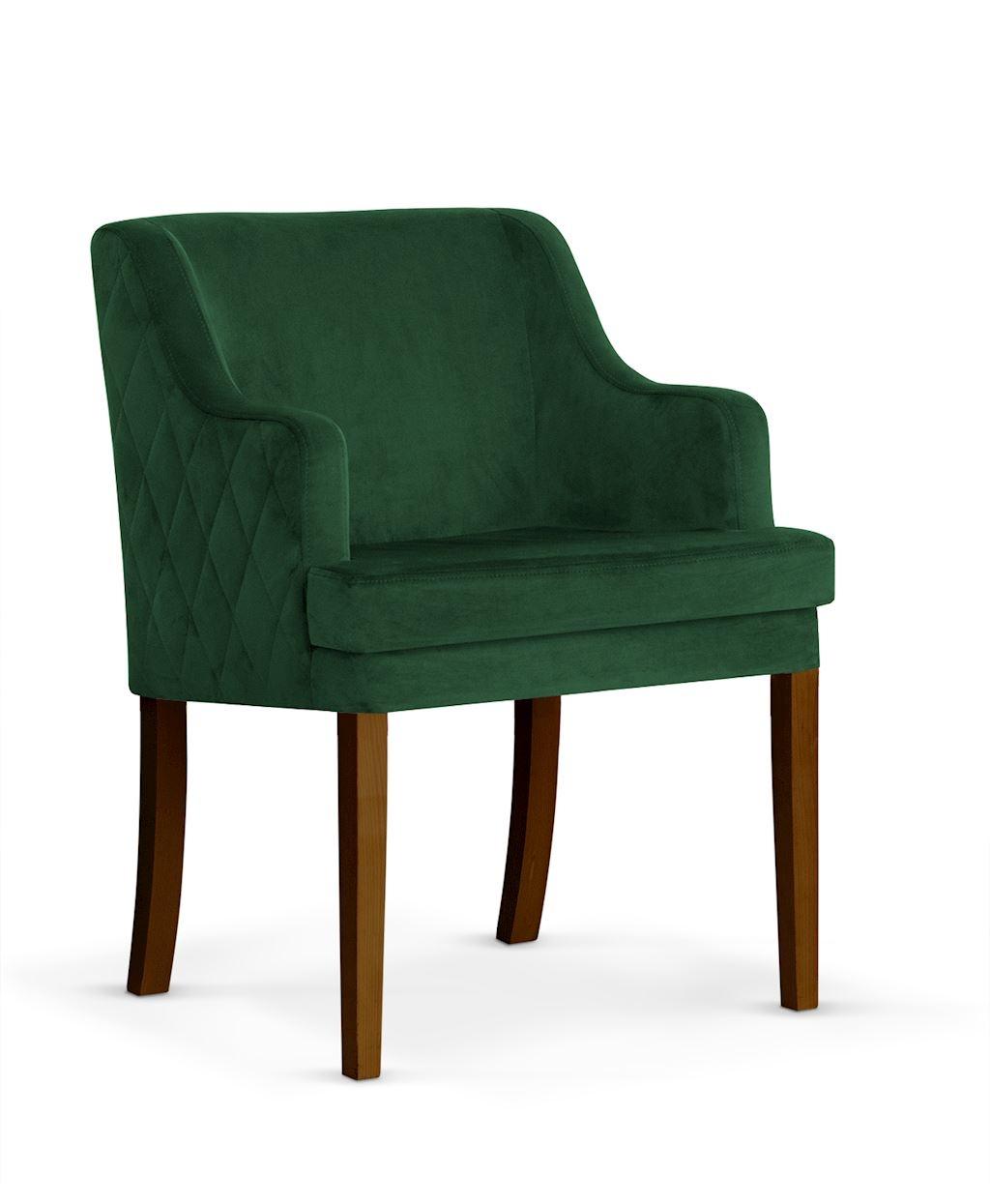 Fotoliu fix tapitat cu stofa cu picioare din lemn Grand Green / Walnut l58xA60xH89 cm