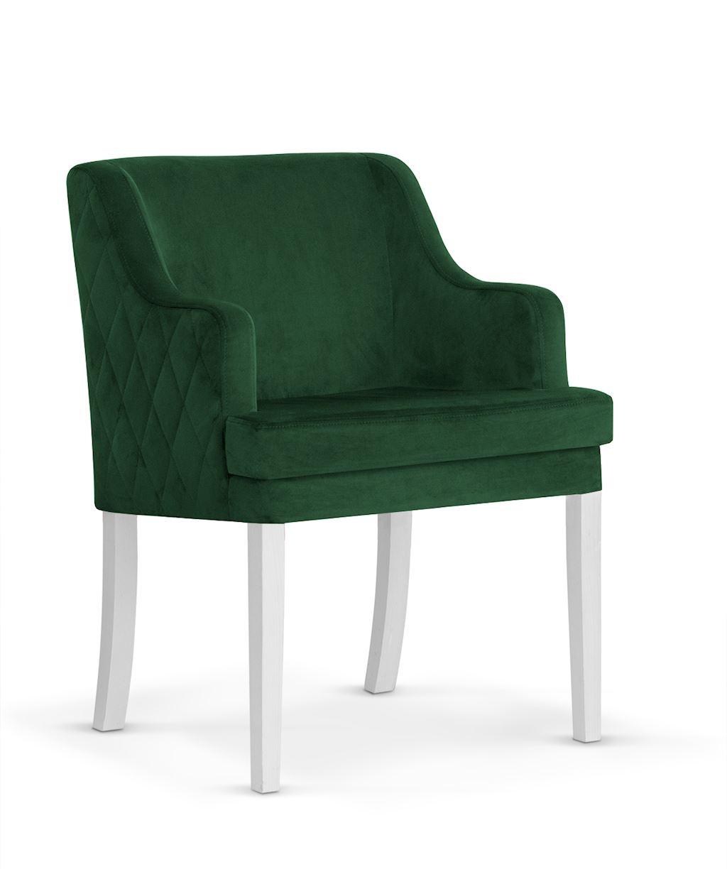 Fotoliu fix tapitat cu stofa, cu picioare din lemn Grand Green / White, l58xA60xH89 cm