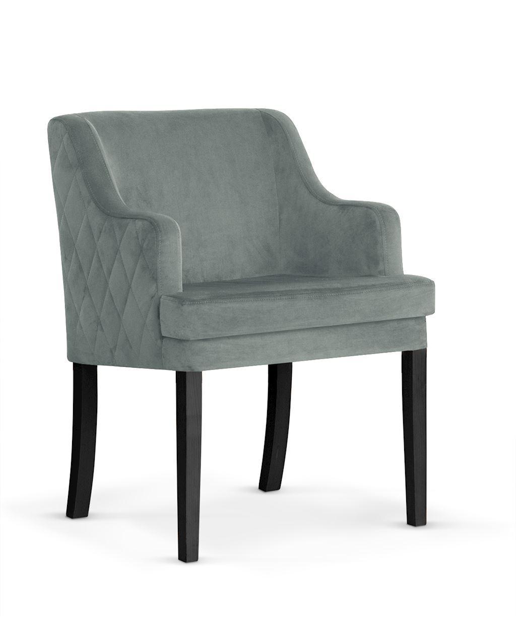 Fotoliu fix tapitat cu stofa, cu picioare din lemn Grand Grey / Black, l58xA60xH89 cm imagine