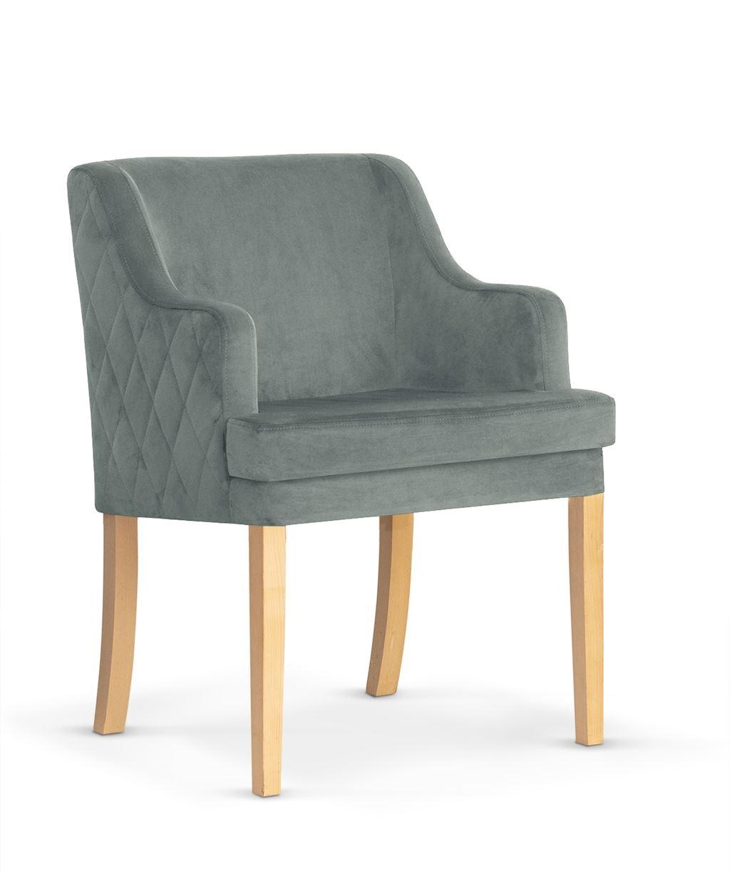 Fotoliu fix tapitat cu stofa, cu picioare din lemn Grand Grey / Oak, l58xA60xH89 cm imagine