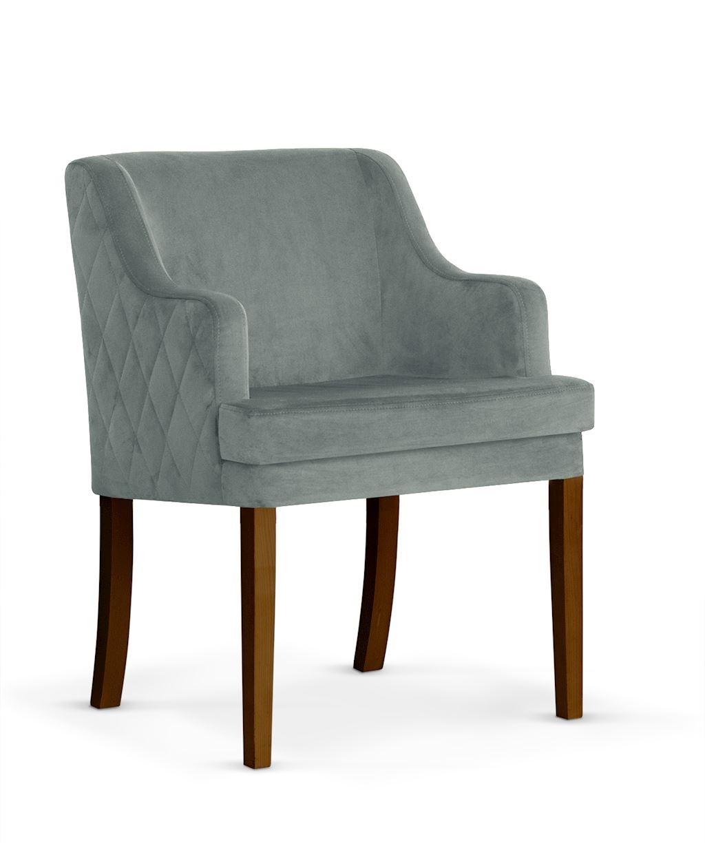 Fotoliu fix tapitat cu stofa, cu picioare din lemn Grand Grey / Walnut, l58xA60xH89 cm