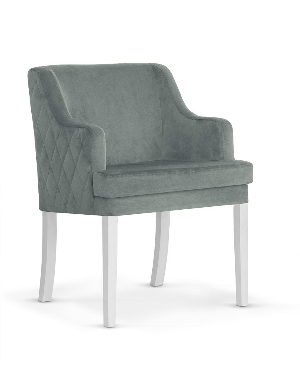 Fotoliu fix tapitat cu stofa, cu picioare din lemn Grand Grey / White, l58xA60xH89 cm imagine
