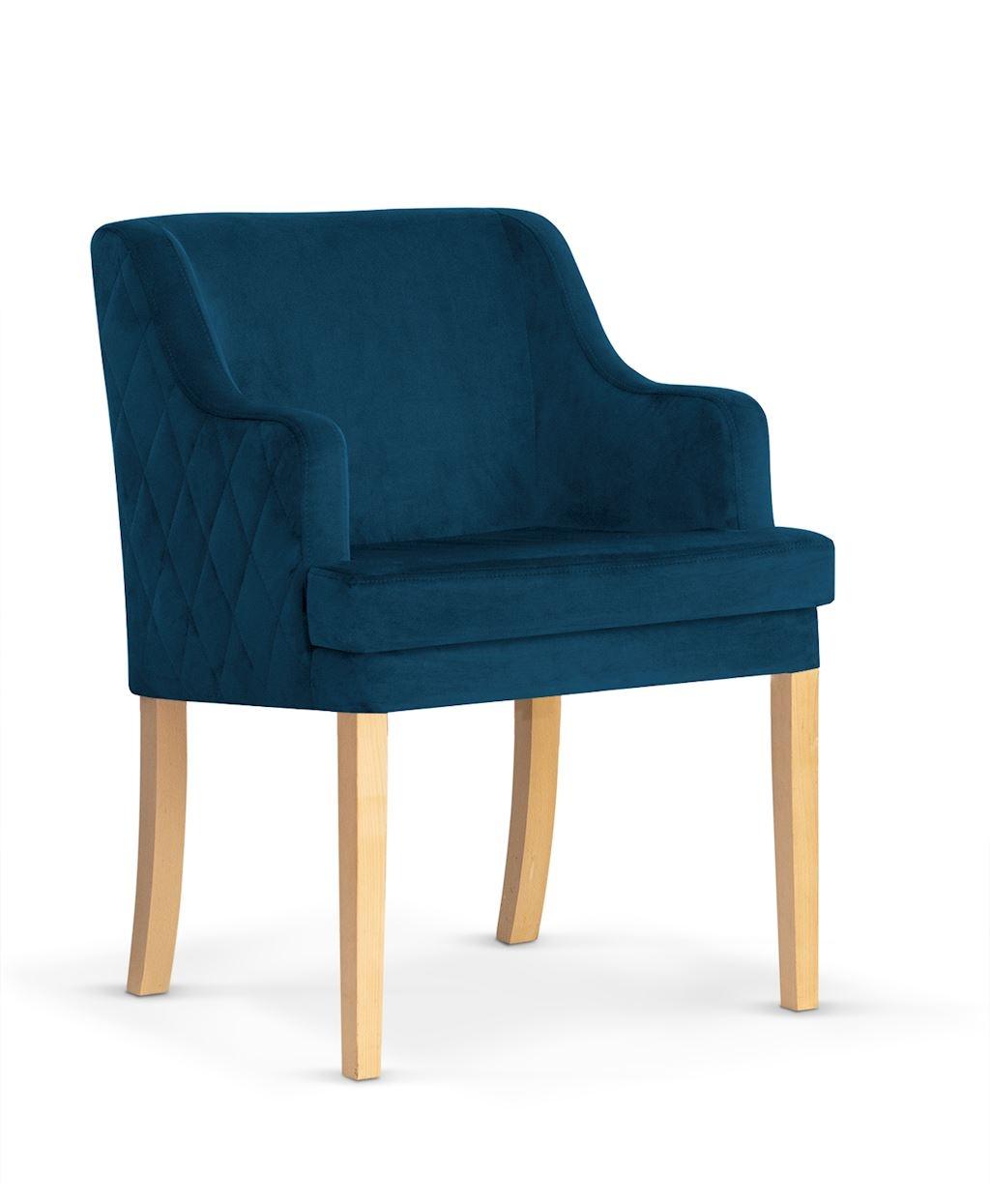 Fotoliu fix tapitat cu stofa, cu picioare din lemn Grand Navy Blue / Oak, l58xA60xH89 cm imagine