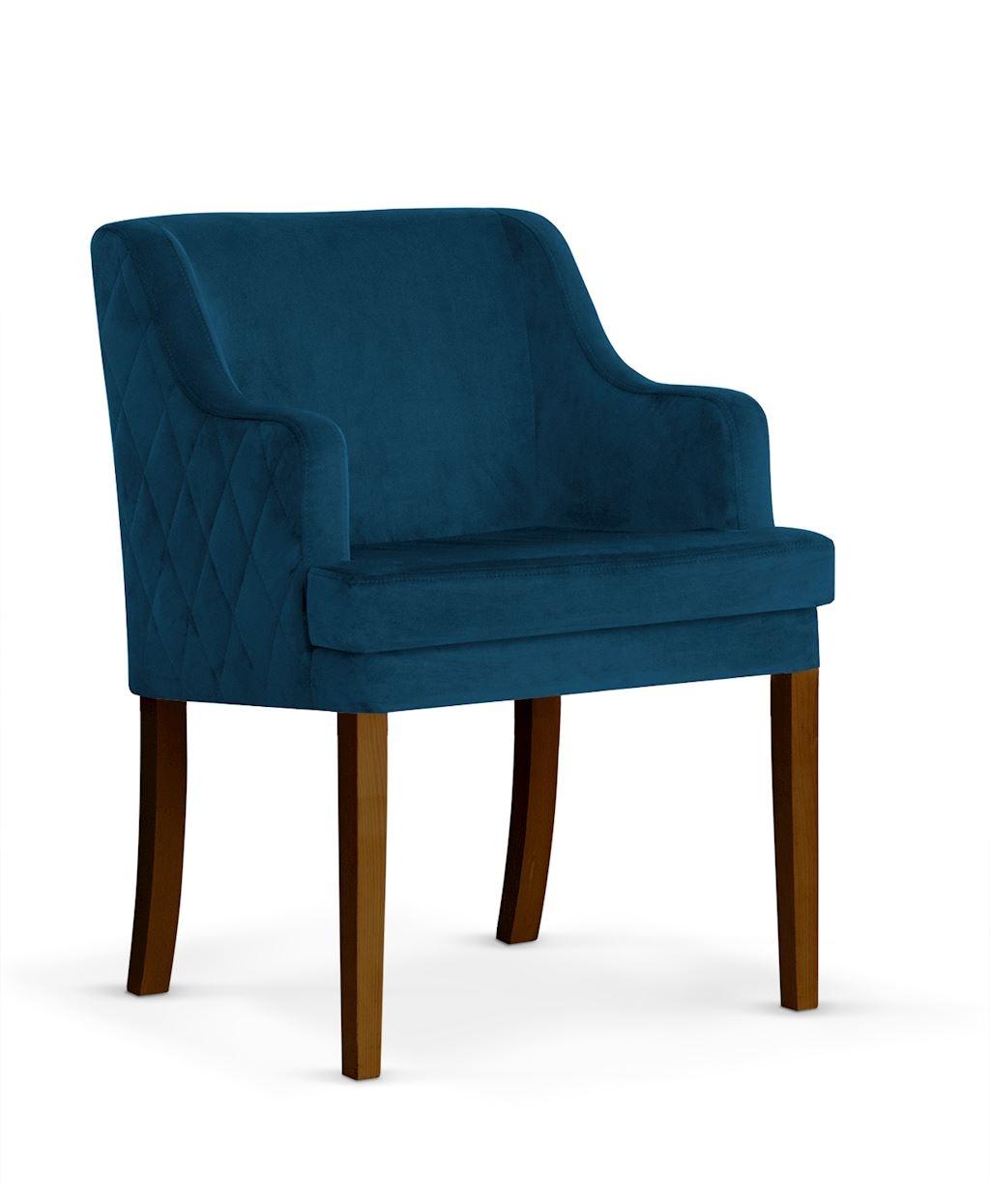 Fotoliu fix tapitat cu stofa, cu picioare din lemn Grand Navy Blue / Walnut, l58xA60xH89 cm