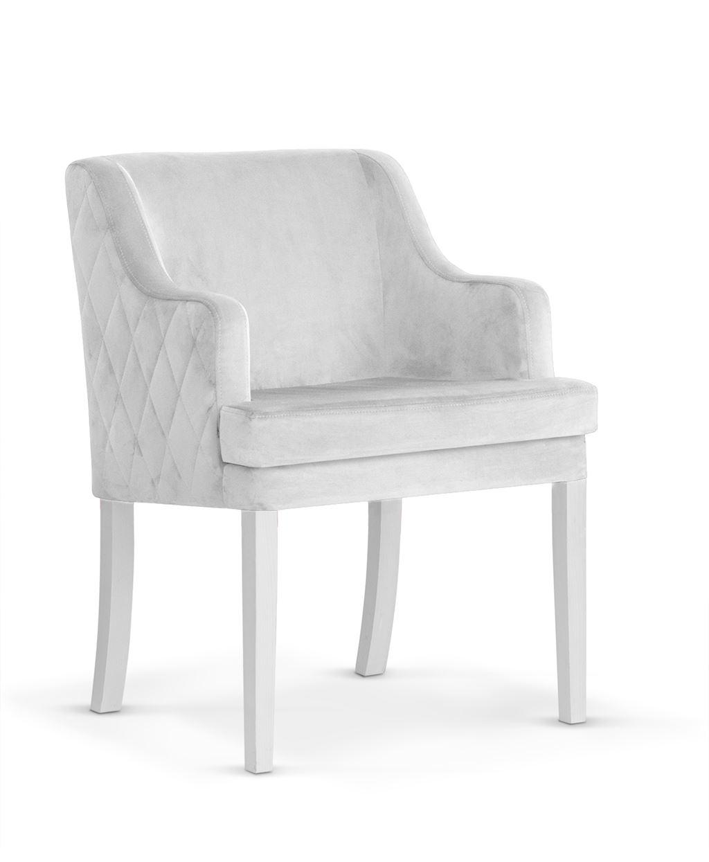Fotoliu fix tapitat cu stofa, cu picioare din lemn Grand Silver / White, l58xA60xH89 cm imagine