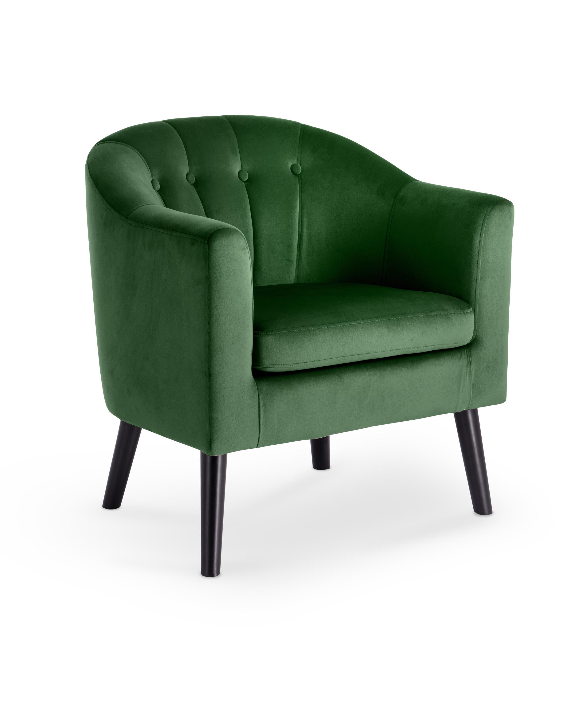 Fotoliu fix tapitat cu stofa, cu picioare din lemn Marshal Dark Green / Black, l70xA64xH75 cm imagine