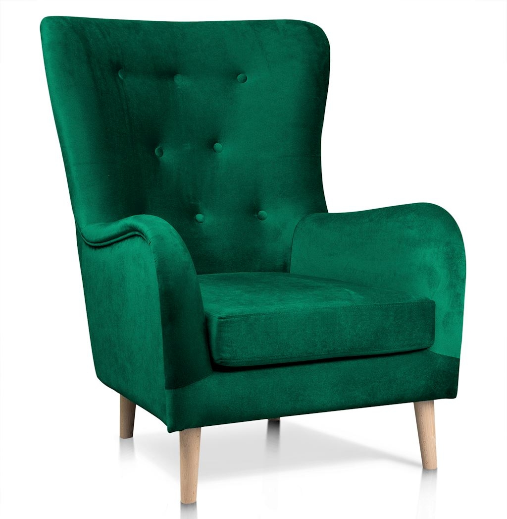 Fotoliu fix tapitat cu stofa, cu picioare din lemn Marshal Verde / Stejar, l85xA96xH103 cm poza