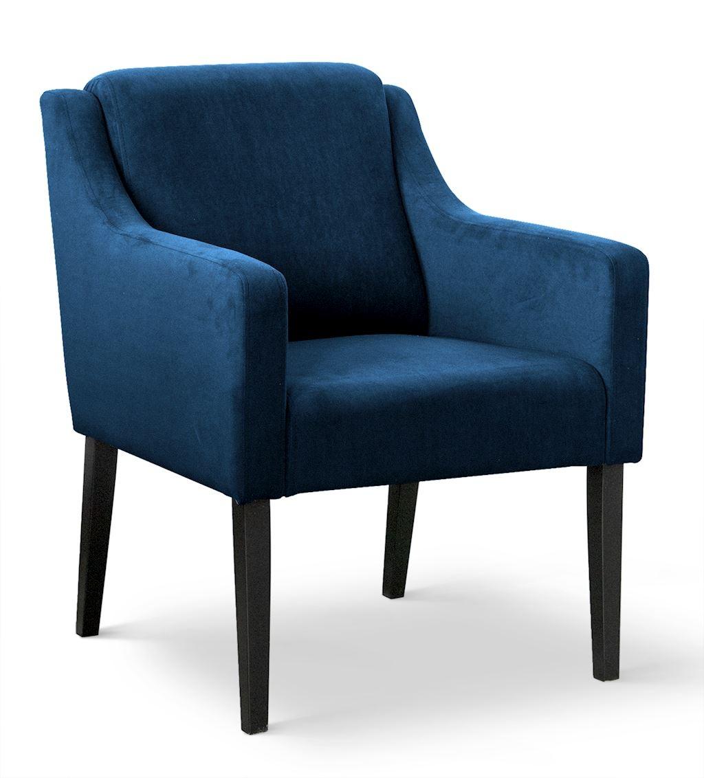 Fotoliu fix tapitat cu stofa, cu picioare din lemn Milo Albastru / Negru, l68xA66xH85 cm din categoria Fotolii Fixe