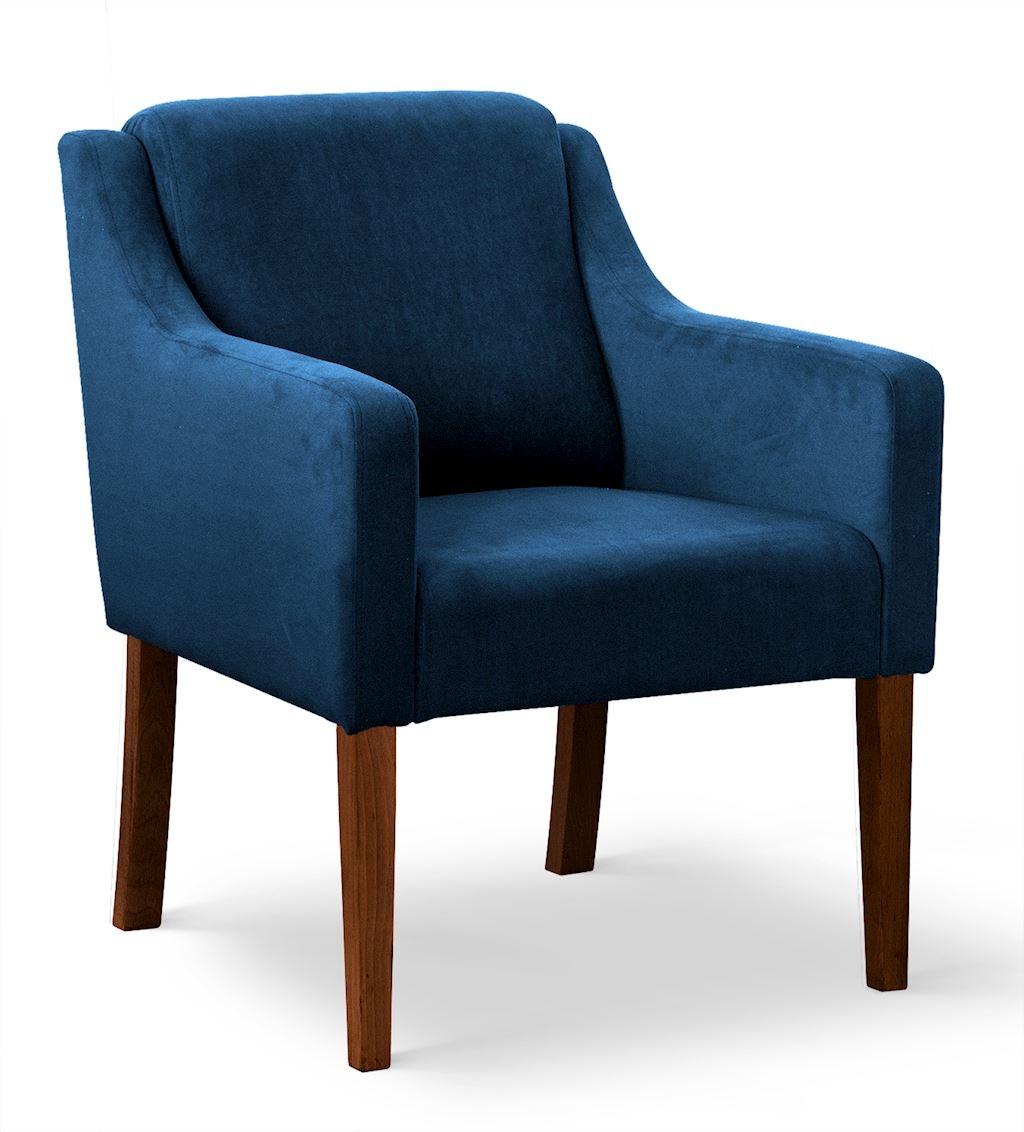 Fotoliu fix tapitat cu stofa, cu picioare din lemn Milo Albastru / Nuc, l68xA66xH85 cm imagine