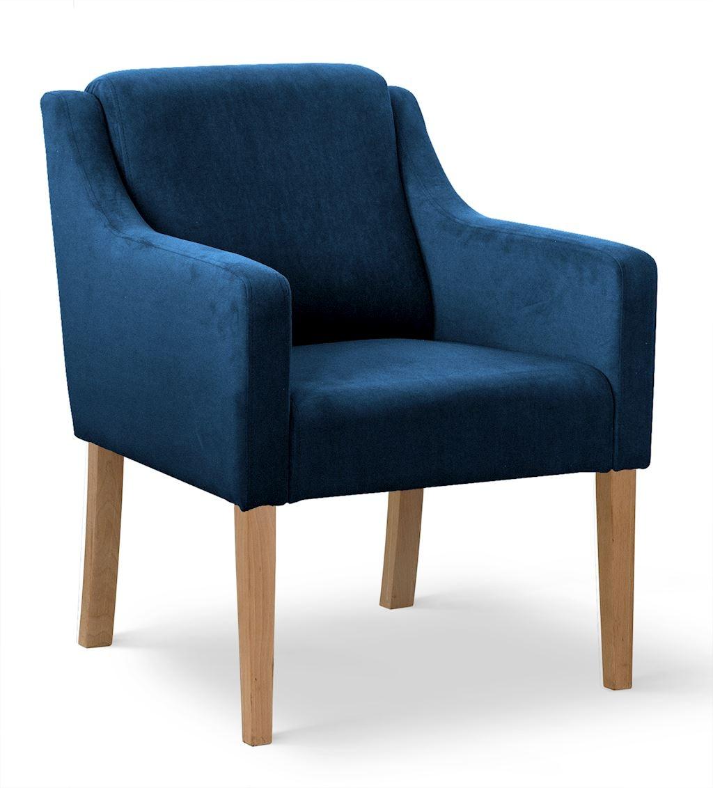 Fotoliu fix tapitat cu stofa, cu picioare din lemn Milo Albastru / Stejar, l68xA66xH85 cm poza