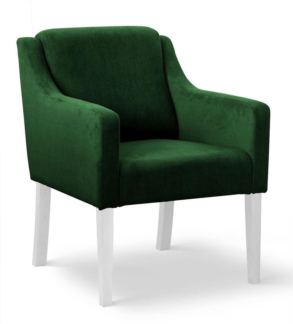 Fotoliu fix tapitat cu stofa, cu picioare din lemn Milo Verde / Alb, l68xA66xH85 cm