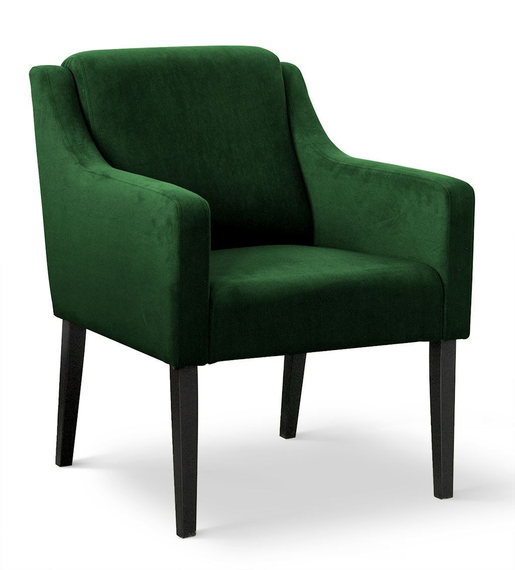 Fotoliu fix tapitat cu stofa, cu picioare din lemn Milo Verde / Negru, l68xA66xH85 cm din categoria Fotolii Fixe
