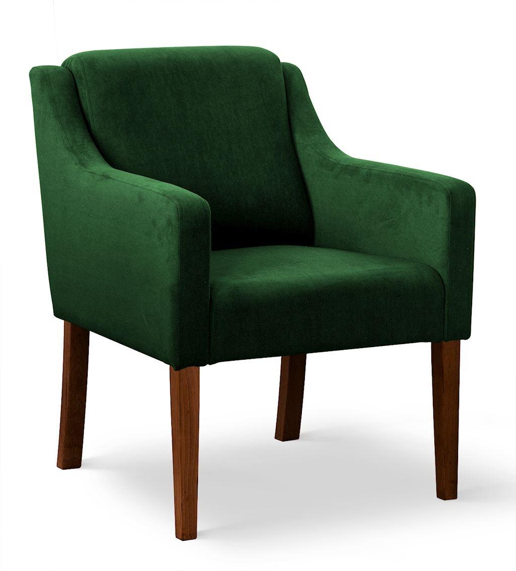 Fotoliu fix tapitat cu stofa, cu picioare din lemn Milo Verde / Nuc, l68xA66xH85 cm