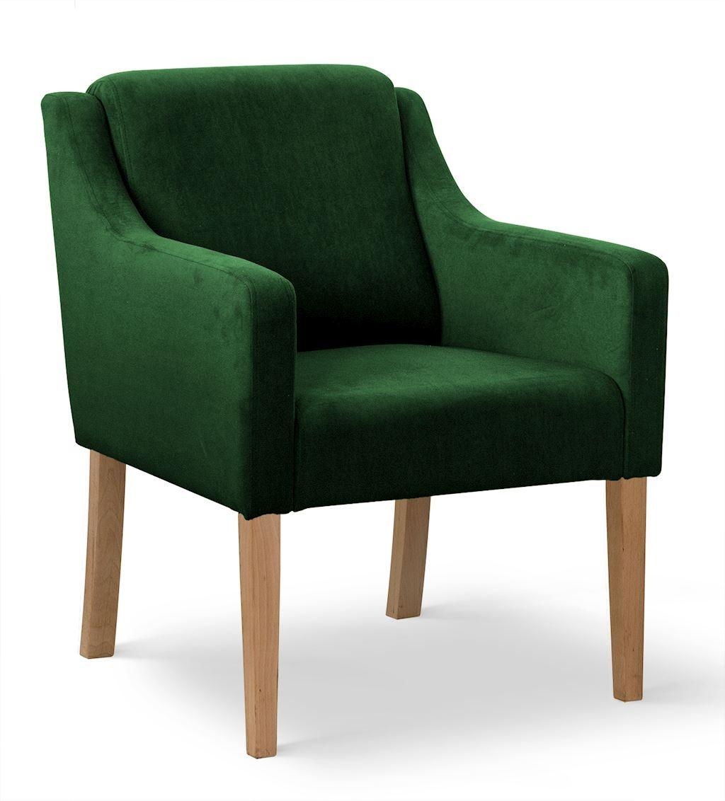 Fotoliu fix tapitat cu stofa, cu picioare din lemn Milo Verde / Stejar, l68xA66xH85 cm