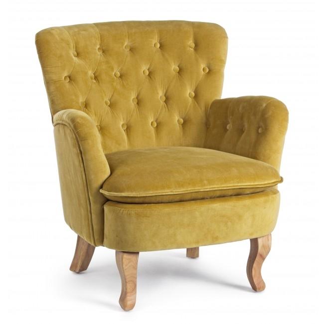 Fotoliu fix tapitat cu stofa, cu picioare din lemn Orlins Mustariu, l71,5xA72,5xH79 cm din categoria Fotolii Fixe