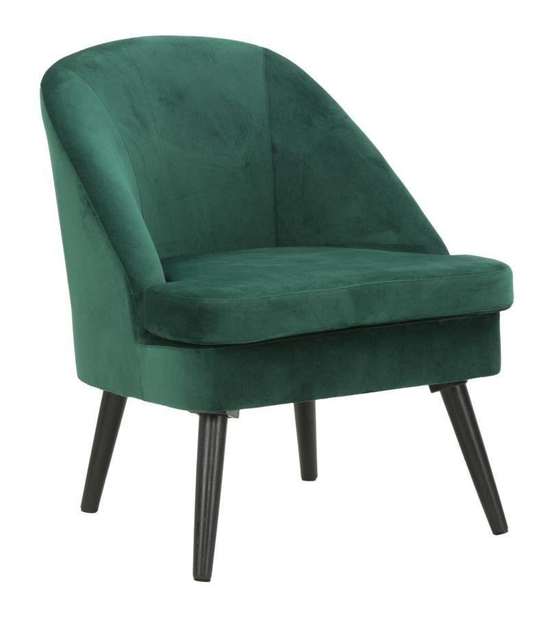 Fotoliu fix tapitat cu stofa, cu picioare din lemn Paris Dark Green, l67xA59xH75,5 cm