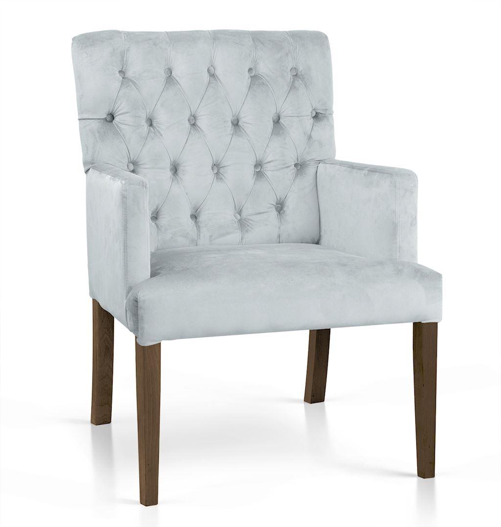 Fotoliu fix tapitat cu stofa, cu picioare din lemn Zara Argintiu / Nuc, l60xA66xH85 cm