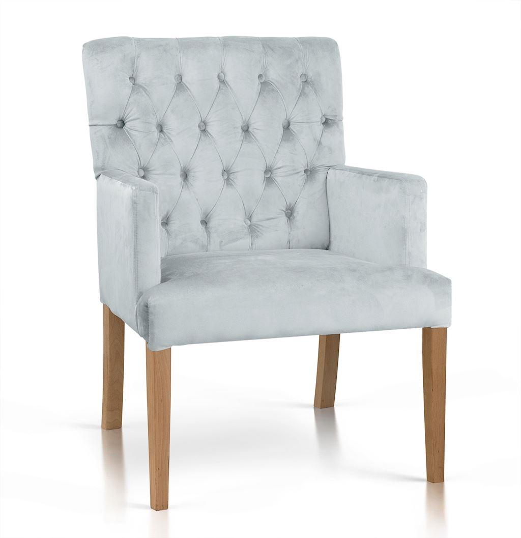 Fotoliu fix tapitat cu stofa, cu picioare din lemn Zara Argintiu / Stejar, l60xA66xH85 cm