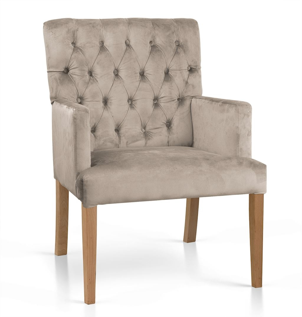 Fotoliu fix tapitat cu stofa, cu picioare din lemn Zara Bej / Stejar, l60xA66xH85 cm