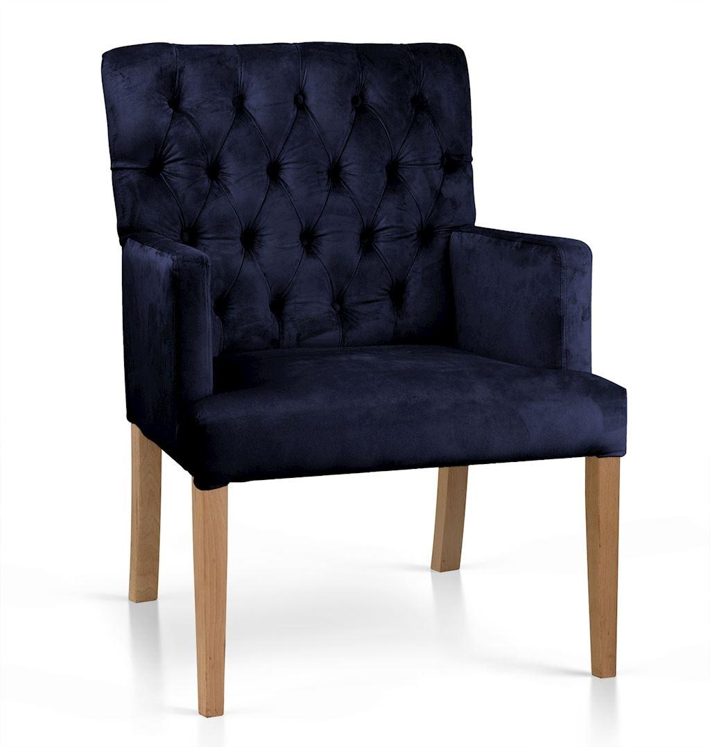 Fotoliu fix tapitat cu stofa, cu picioare din lemn Zara Bleumarin / Stejar, l60xA66xH85 cm