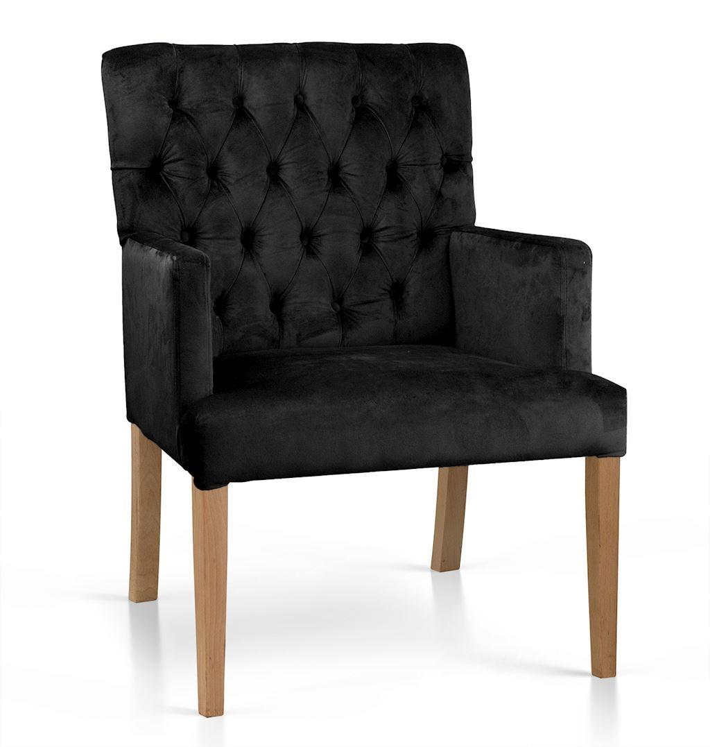 Fotoliu fix tapitat cu stofa, cu picioare din lemn Zara Negru / Stejar, l60xA66xH85 cm poza