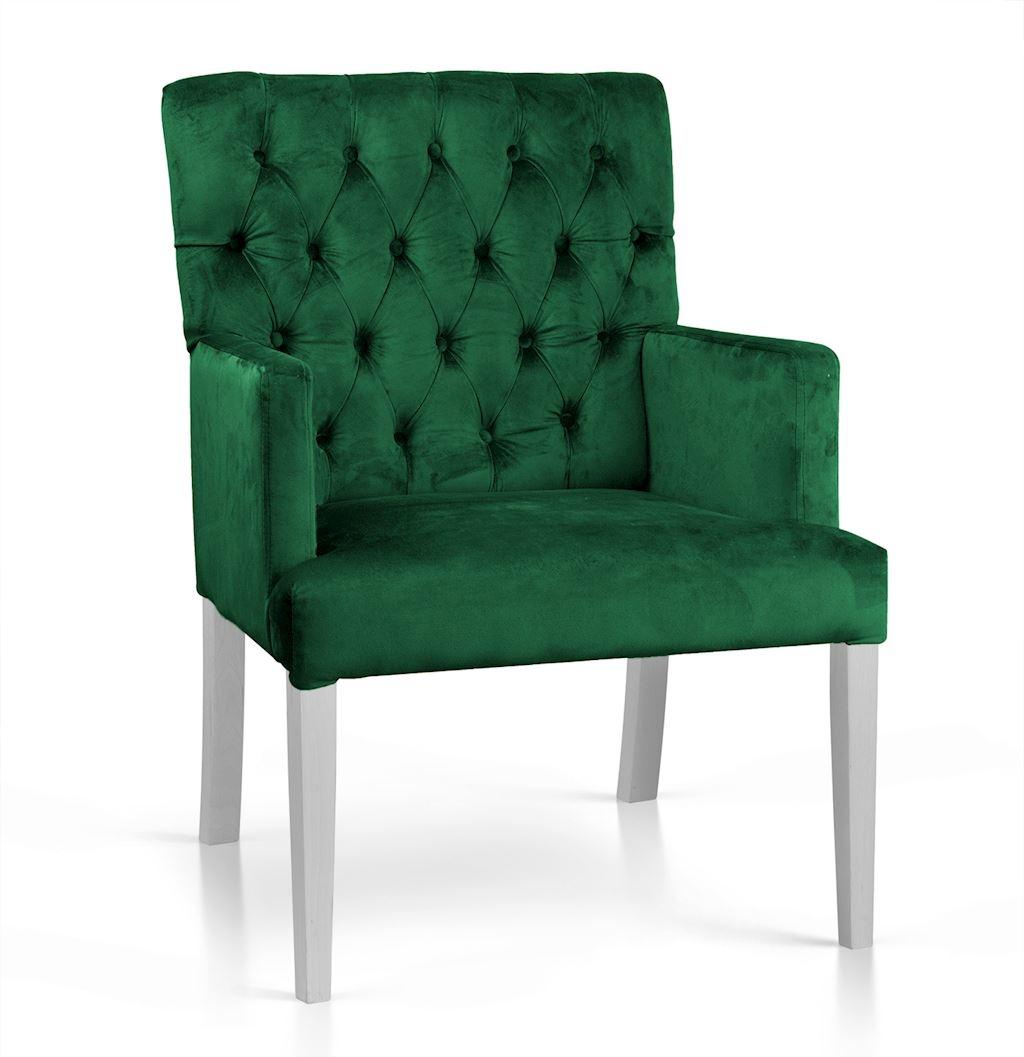 Fotoliu fix tapitat cu stofa, cu picioare din lemn Zara Verde / Alb, l60xA66xH85 cm imagine