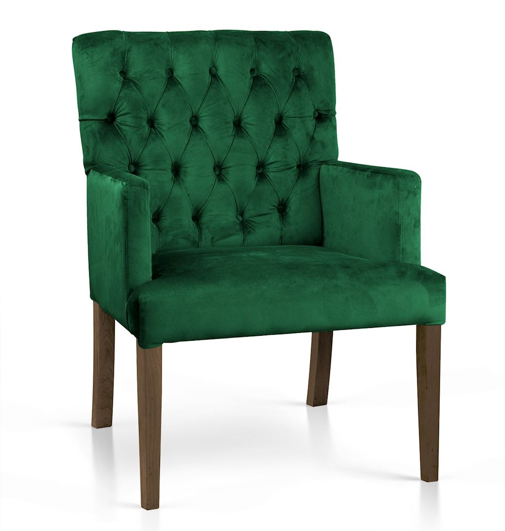 Fotoliu fix tapitat cu stofa, cu picioare din lemn Zara Verde / Nuc, l60xA66xH85 cm