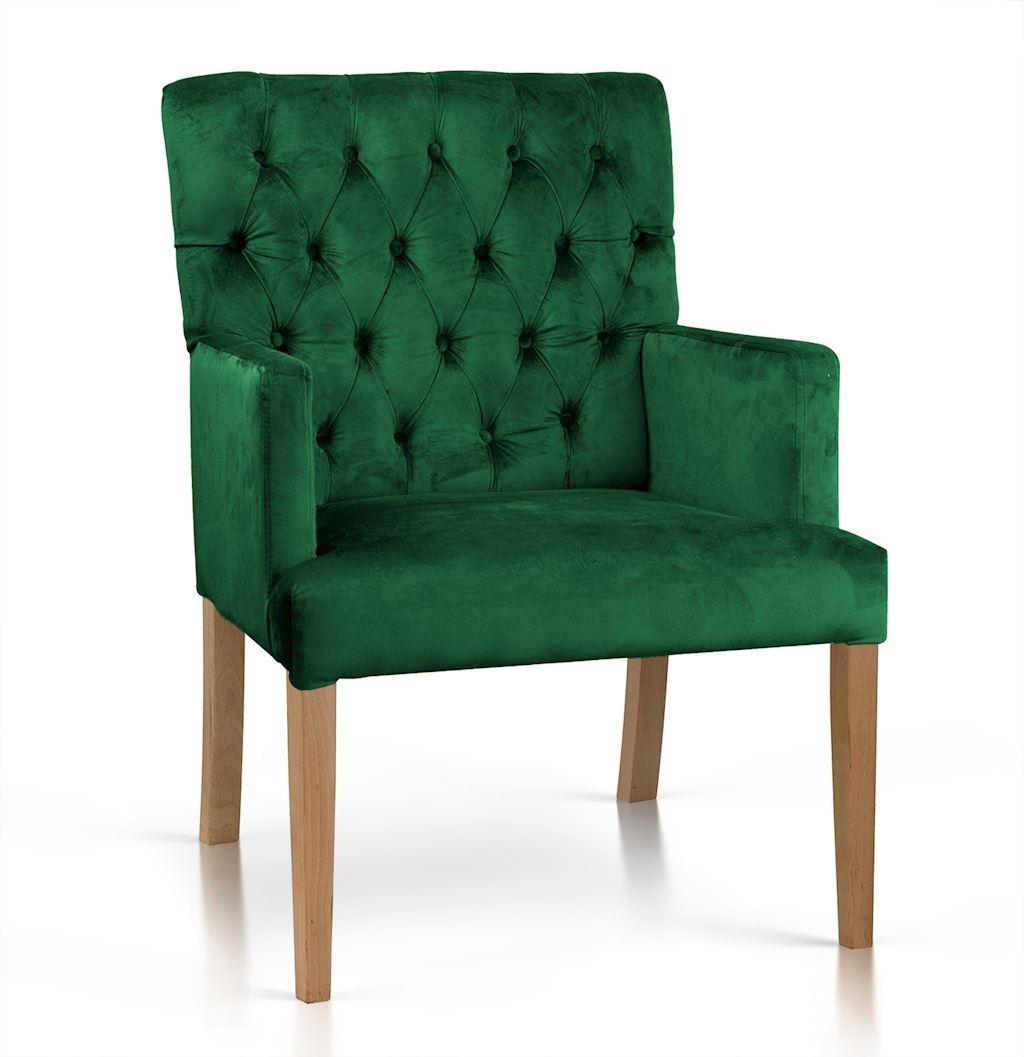 Fotoliu fix tapitat cu stofa, cu picioare din lemn Zara Verde / Stejar, l60xA66xH85 cm imagine