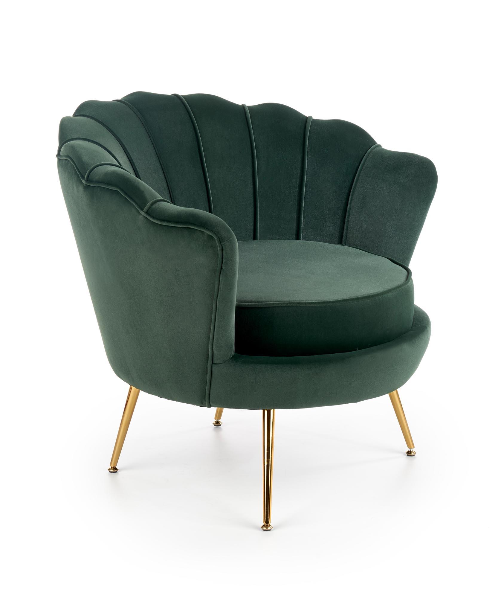Fotoliu fix tapitat cu stofa, cu picioare din metal Amorinito Verde inchis / Auriu, l83xA77xH77 cm imagine