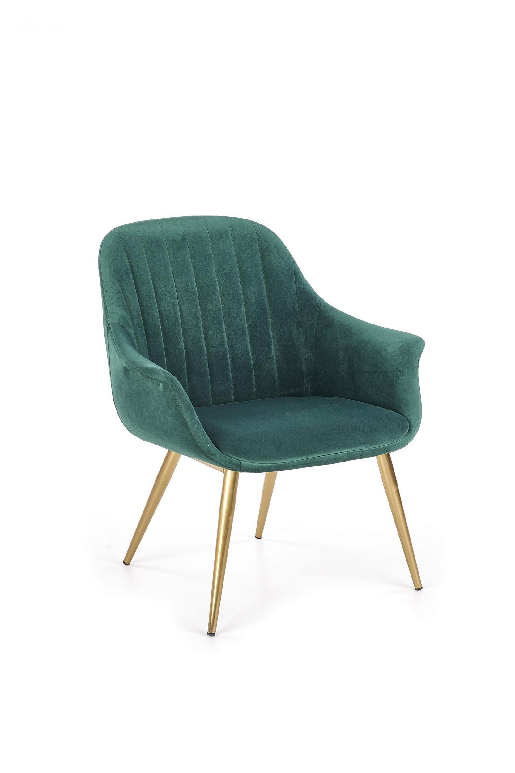 Fotoliu fix tapitat cu stofa cu picioare din metal Elegance 2 Dark Green / Gold l72xA60xH79 cm
