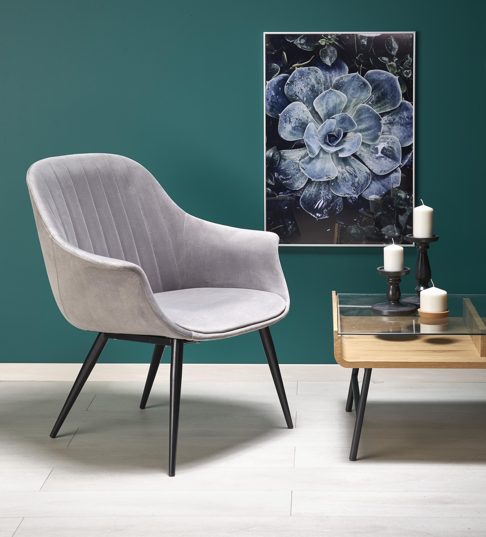 Fotoliu fix tapitat cu stofa si picioare metalice Elegance Gri / Negru, l72xA60xH79 cm imagine