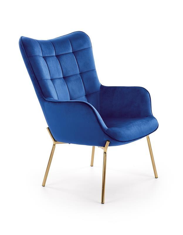 Fotoliu fix tapitat cu stofa, cu picioare metalice Castel 2 Albastru inchis / Auriu, l71xA79xH97 cm somproduct.ro
