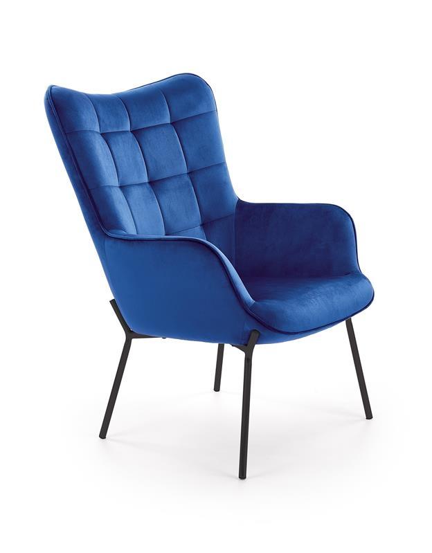 Fotoliu fix tapitat cu stofa, cu picioare metalice Castel Albastru inchis / Negru, l71xA79xH97 cm