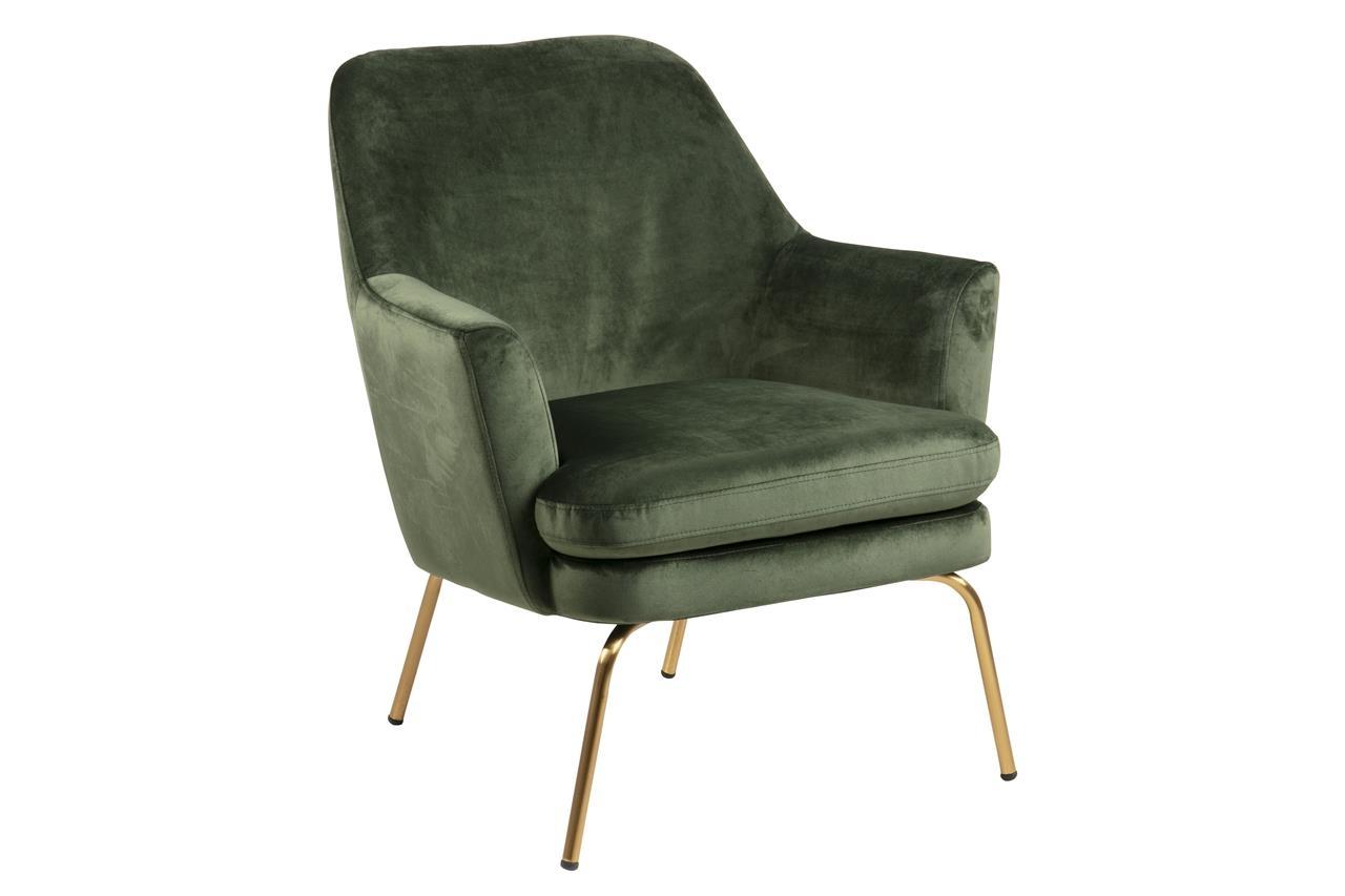 Fotoliu fix tapitat cu stofa si picioare metalice Chisa Velvet Verde Inchis / Alama, l74xA73xH83 cm imagine