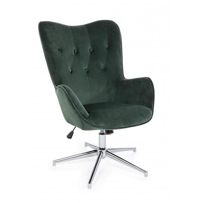 Fotoliu fix tapitat cu stofa cu picior metalic Farida Verde inchis l69xA70xH105-117 cm