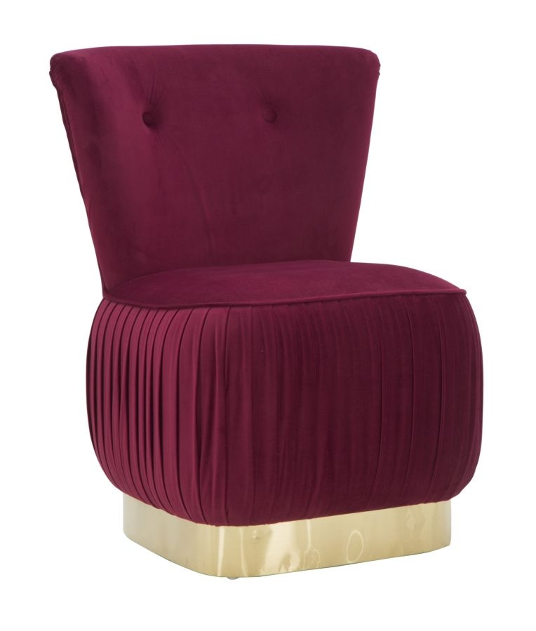 Fotoliu fix tapitat cu stofa Lady Bordeaux / Auriu, l60xA55xH79 cm din categoria Fotolii Fixe