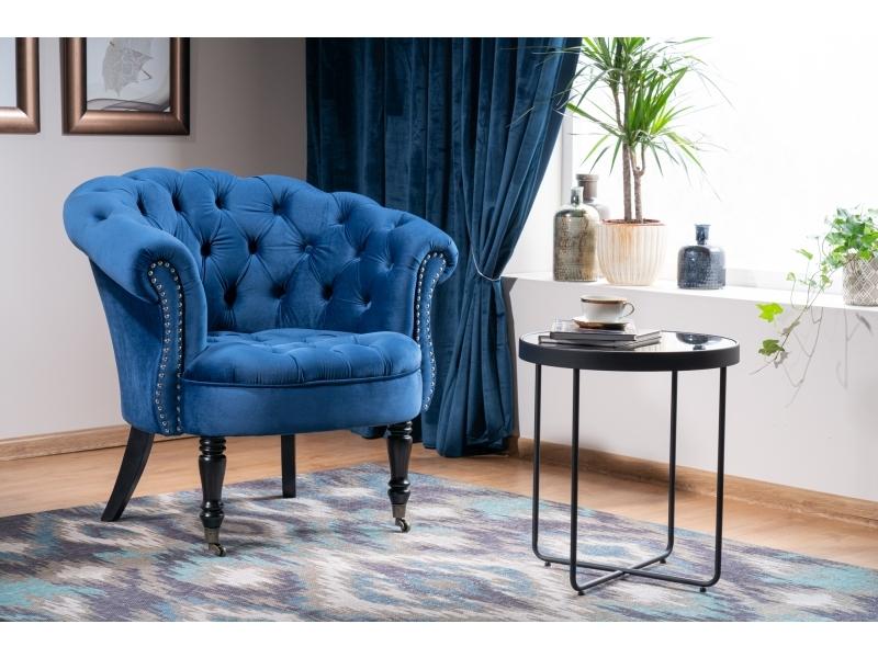 Fotoliu fix tapitat cu stofa si picioare din lemn Philips Velvet Albastru inchis, l87xA78xH83 cm imagine