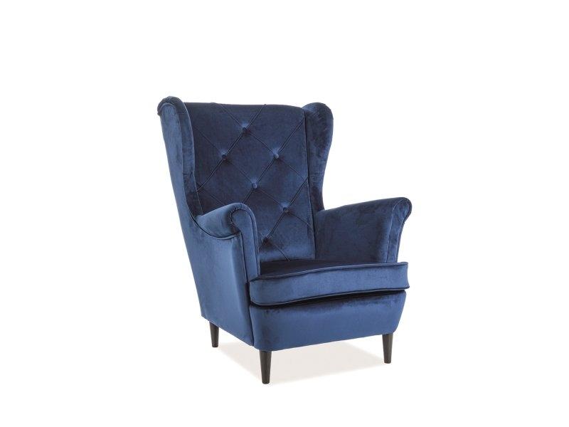 Fotoliu fix tapitat cu stofa si picioare din lemn Lady Velvet Albastru inchis, l75xA85xH101 cm imagine