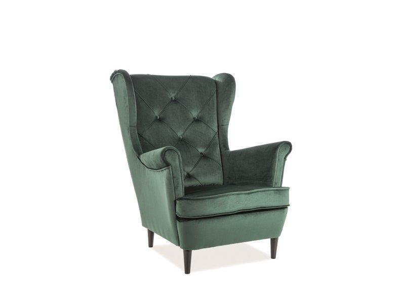 Fotoliu fix tapitat cu stofa si picioare din lemn Lady Velvet Verde, l75xA85xH101 cm