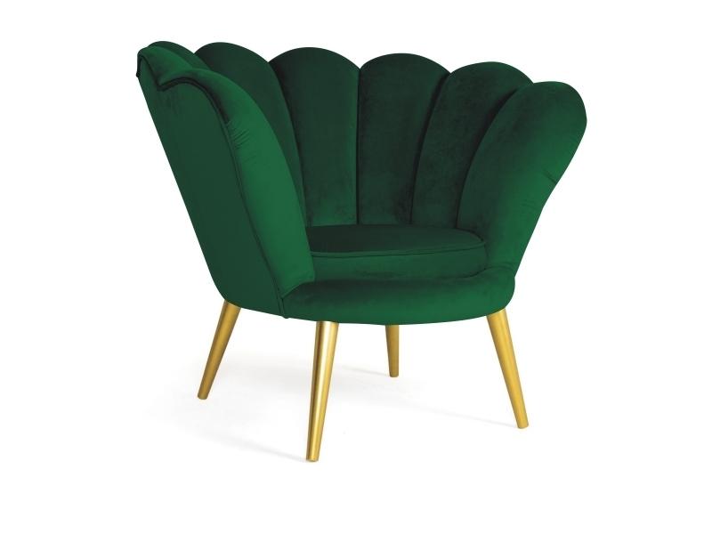 Fotoliu fix tapitat cu stofa si picioare din lemn Magnolia I Velvet Verde / Auriu, l95xA85xH76 cm imagine