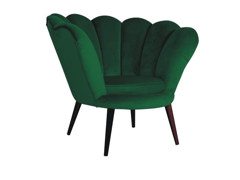 Fotoliu fix tapitat cu stofa si picioare din lemn Magnolia I Velvet Verde / Wenge, l95xA85xH76 cm imagine