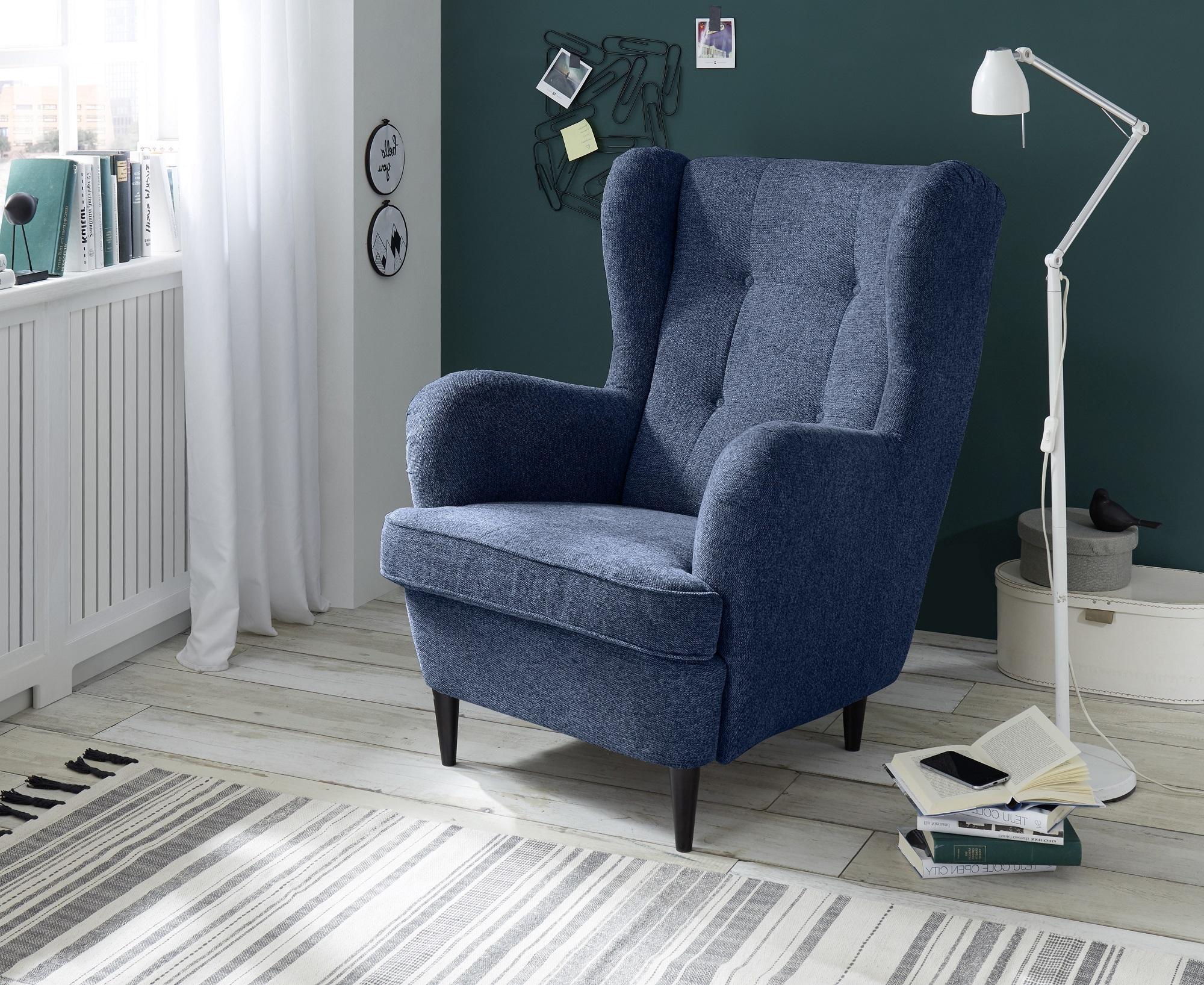Fotoliu fix tapitat cu stofa si picioare din lemn, Oskard Albastru, l78xA98xH102 cm imagine