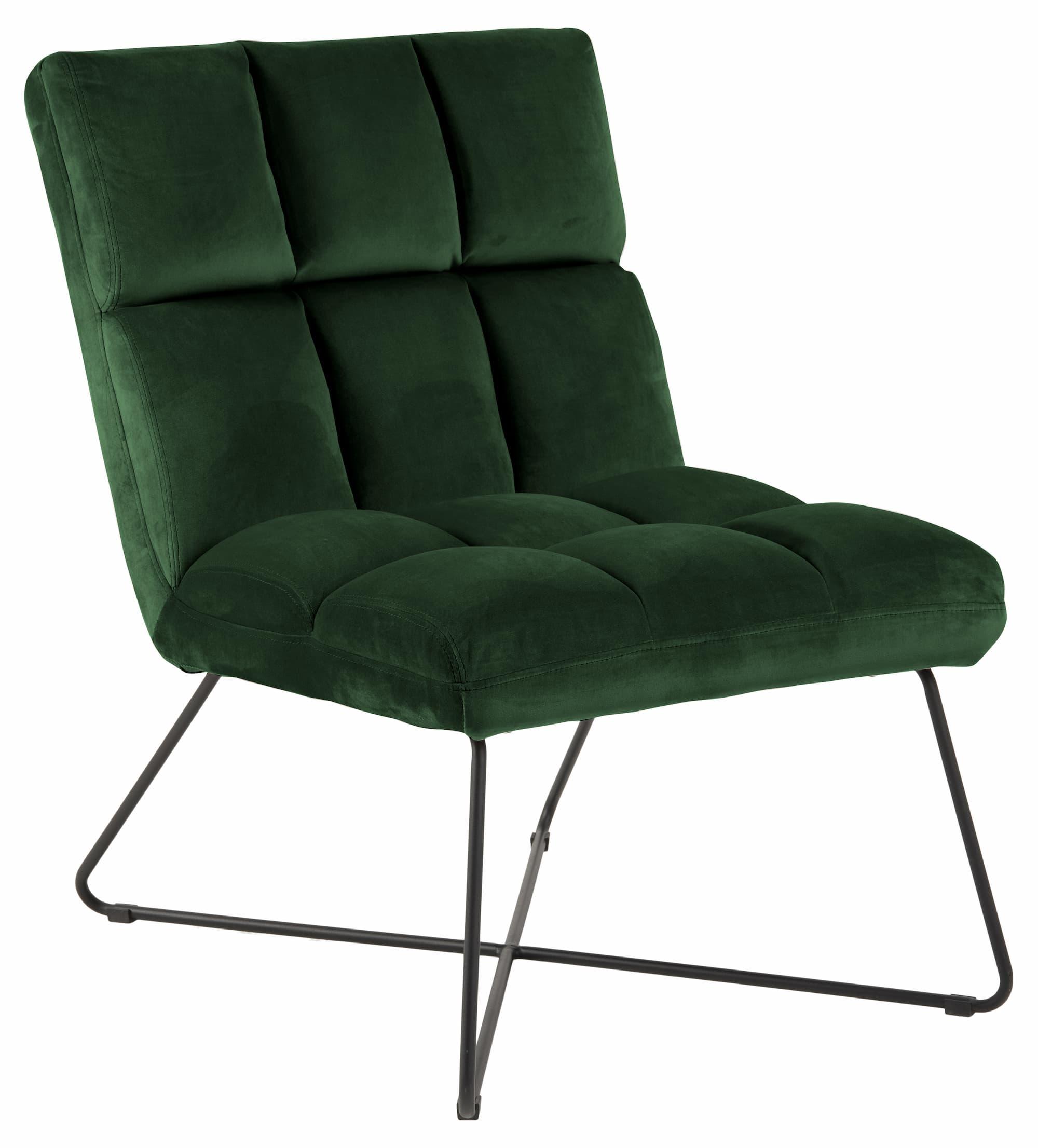Fotoliu fix tapitat cu stofa si picioare metalice Alba Velvet Verde, l62xA86xH90 cm imagine