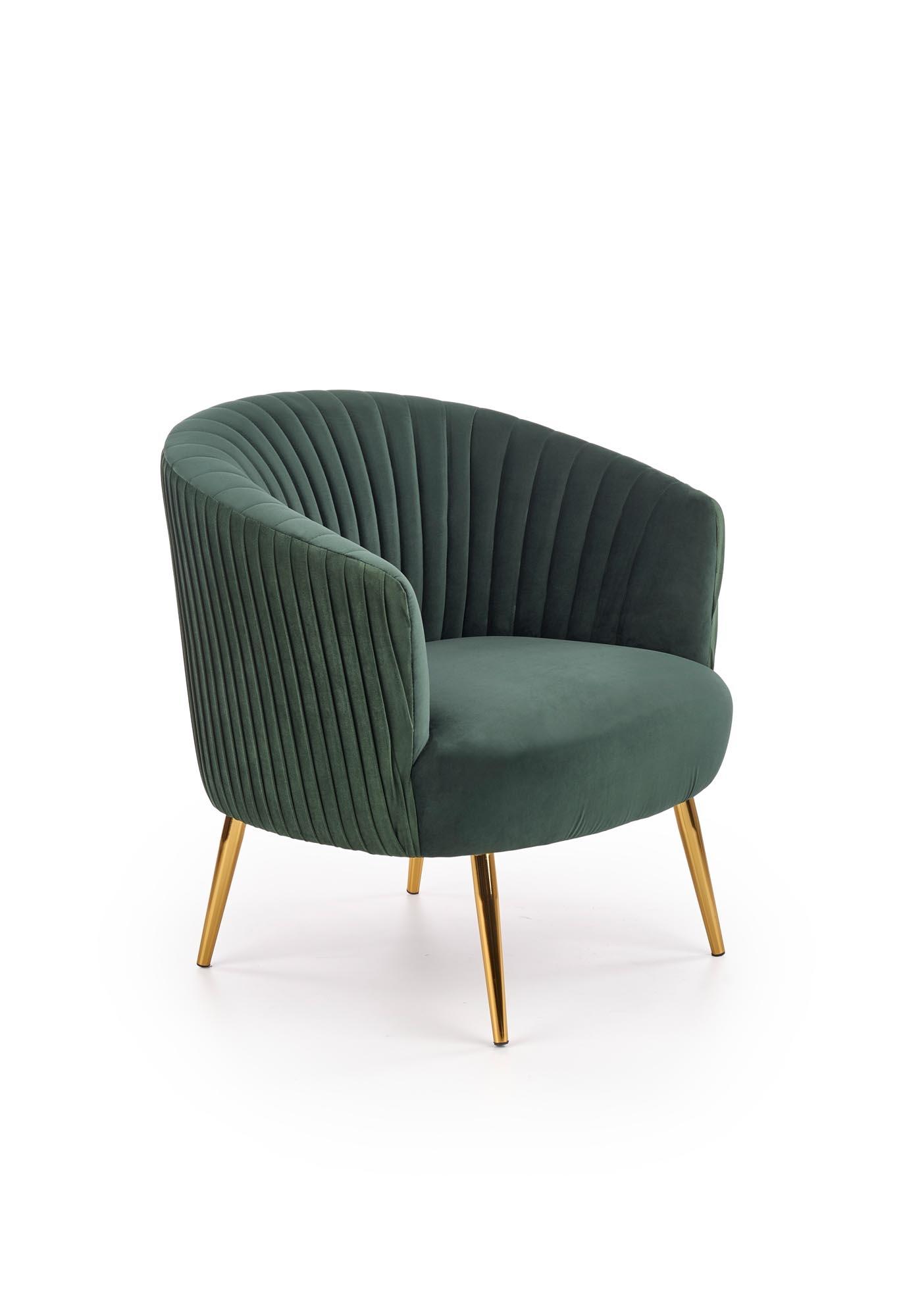 Fotoliu fix tapitat cu stofa si picioare metalice Crown Verde inchis / Auriu, l78xA72xH80 cm poza