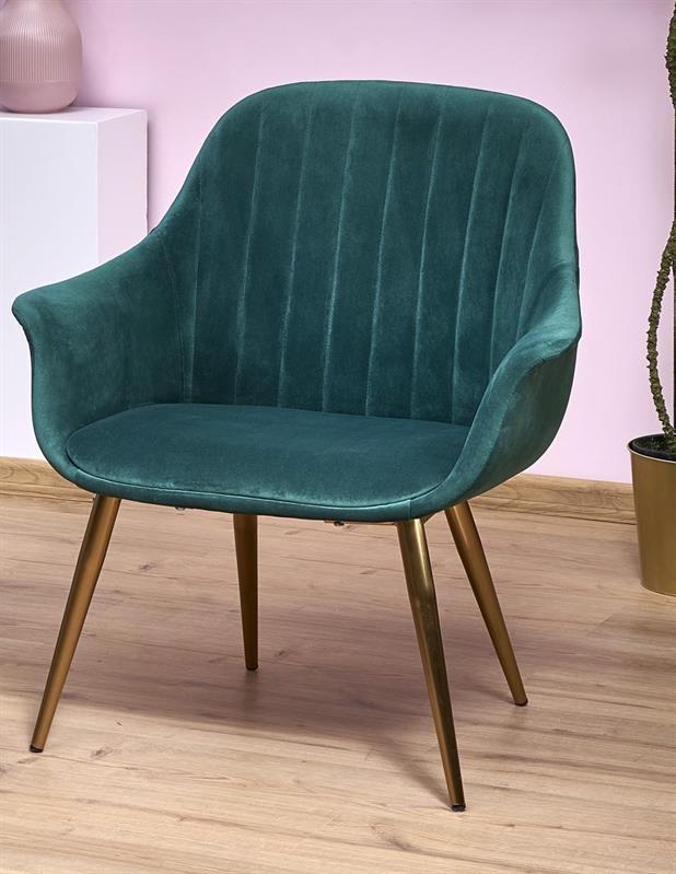 Fotoliu fix tapitat cu stofa si picioare metalice Elegance 2 Verde inchis / Auriu, l72xA60xH79 cm poza