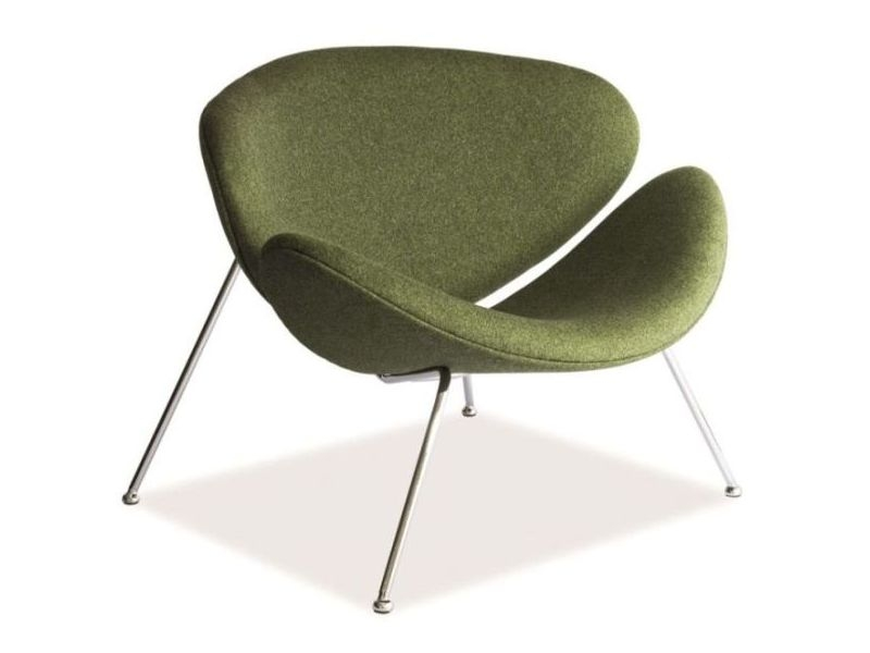 Fotoliu fix tapitat cu stofa si picioare metalice Major Verde inchis / Crom, l84xA49xH72 cm imagine