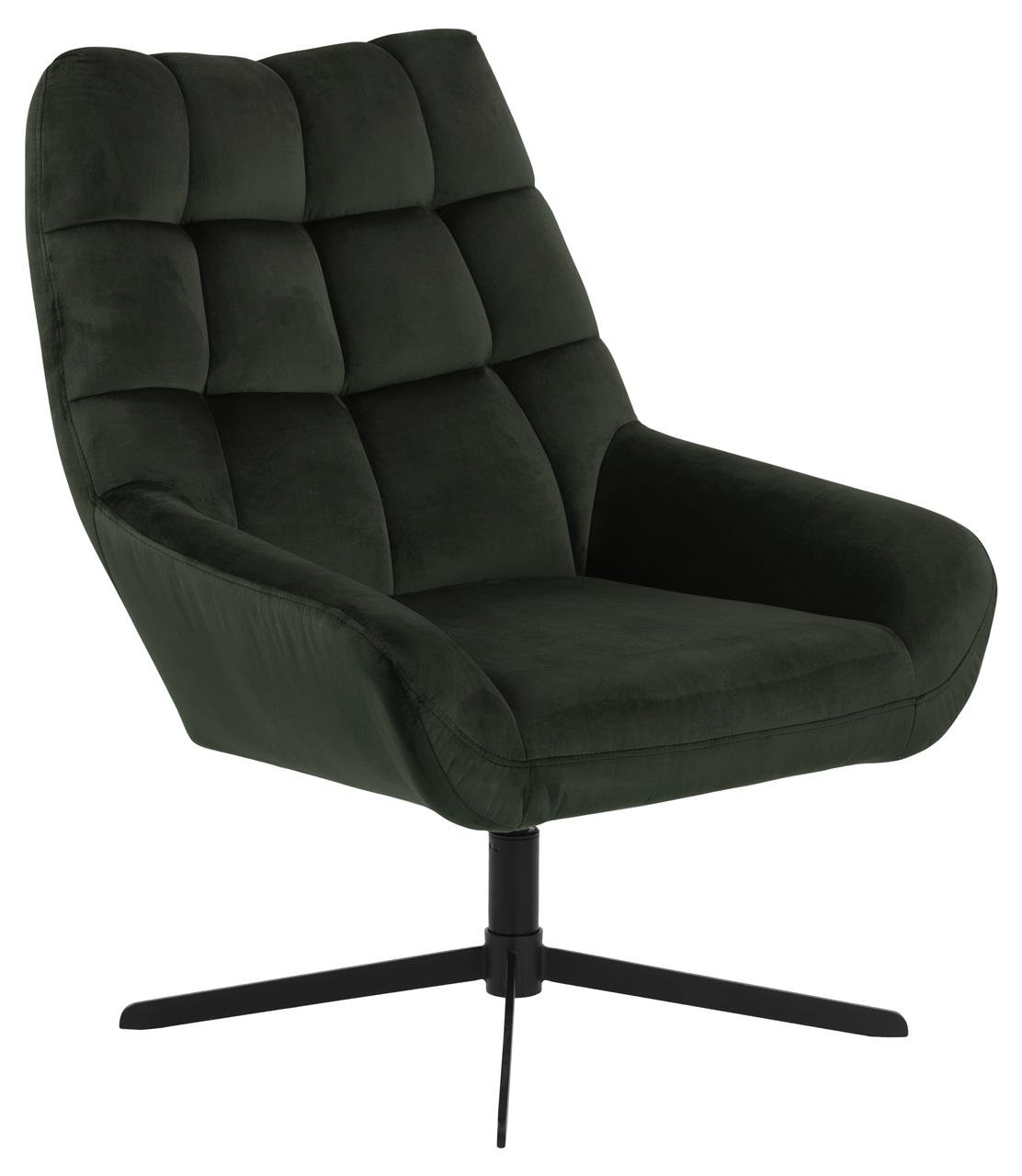 Fotoliu rotativ tapitat cu stofa si picioare metalice Paris Velvet Verde Inchis / Negru, l73xA82xH88 cm imagine