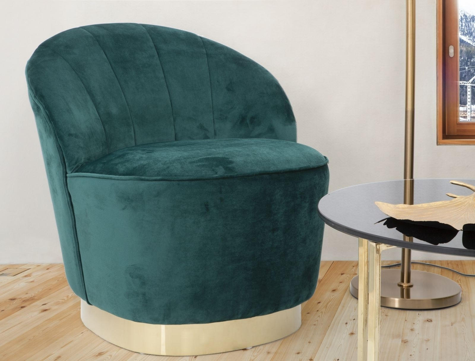 Fotoliu fix tapitat cu stofa Sopy Velvet Verde inchis / Auriu, l67xA71xH70 cm somproduct.ro