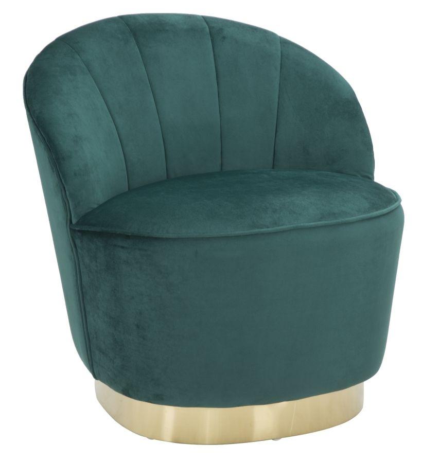 Fotoliu fix tapitat cu stofa Sopy Verde inchis / Auriu, l67xA71xH70 cm din categoria Fotolii Fixe