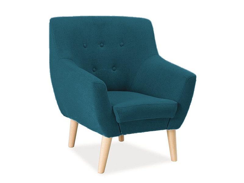 Fotoliu fix tapitat cu stofa, cu picioare din lemn Nordic 1 Turquoise, l76xA55xH90 cm